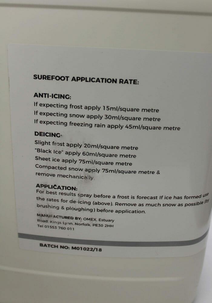 Surefoot 10lt Application Rates