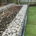 Dove Grey Gabion Stone Wall - photo courtesy of Paul Cox Landscaping