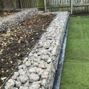 Dove Grey Gabion Stone Wall - photo courtesy of Paul Cox Landscaping